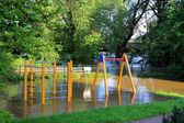 Flooded playground in Magdeburg — Stock Photo