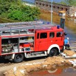 Firefighters in action during high water in Magdeburg — Stock Photo