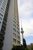 The Berlin TV tower and skyscraper — Stock Photo