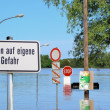 Flooded street during floods in 2013 in Magdeburg — Stock Photo