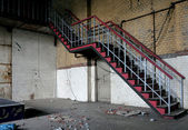 Staircase in an abandoned factory — Stock Photo