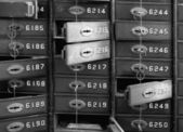 Deposit boxes of a bank — Stock Photo