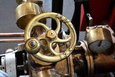 Handwheel on a fire engine — Stockfoto