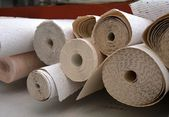 Wallpaper rolls in a warehouse — Stock Photo