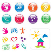 Kids Iconset & Cliparts — Stock Vector
