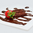 Strawberrry with chocolate brownie and syrup mix - Stock Photo