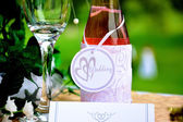 Wedding Champagne Bottle & Glass — Stock Photo