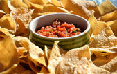 Salsa & Nacho Chips — Stock Photo