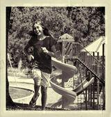 Girl Running In Playground - Vintage Postcard — Stock Photo