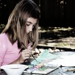 Stock Photo: Girl Painting Outside