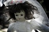 Vintage Doll In White Dress — Stock Photo