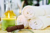 Spa Towels & Candle — Stock Photo