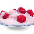 Stock Photo: Raspberry and yogurt