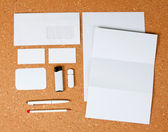 White collection of stationery on — Stock Photo
