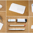 White collection of stationery on corkboard background. — Stock Photo #46152723