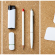 White collection of stationery on corkboard background. — Stock Photo #46398183