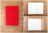 Set of red open and closed notebooks on the table. — Stockfoto