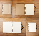 Set of Recycled paper notebook with black elastic band  — Stock Photo