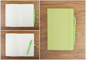 A set of open and closed notebook with pen on the table. — Stockfoto