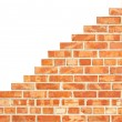Isolated increasing brick wall — Stock Photo