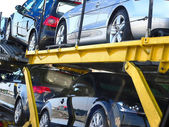 Semi-trailer with brand-new cars — Stock Photo