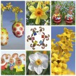 Easter Collage of seven pictures - Stock Photo