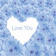 Blue daisy background with love heart — Stock Photo