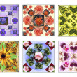 Royalty-Free Stock Photo: Set of six floral squares made of natural flowers in pastel colors