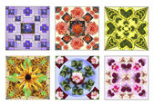 Set of six floral squares made of natural flowers in pastel colors — Stock Photo