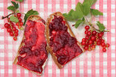 Bread slices with red current jam on nostalgic checkered slat — Stock Photo