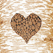 Birch tree bark with heart shaped cutout, filled with wooden logs — Stock Photo