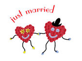 Happy marriage couple built of flower hearts — Stock Photo