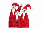 Three santa claus, childrens painting — Stock Photo