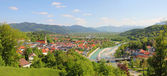 Panoramic view to bad tolz and the alps — Stock Photo