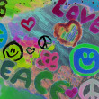"Stock Photo: Teenager drawing ""love and peace"""
