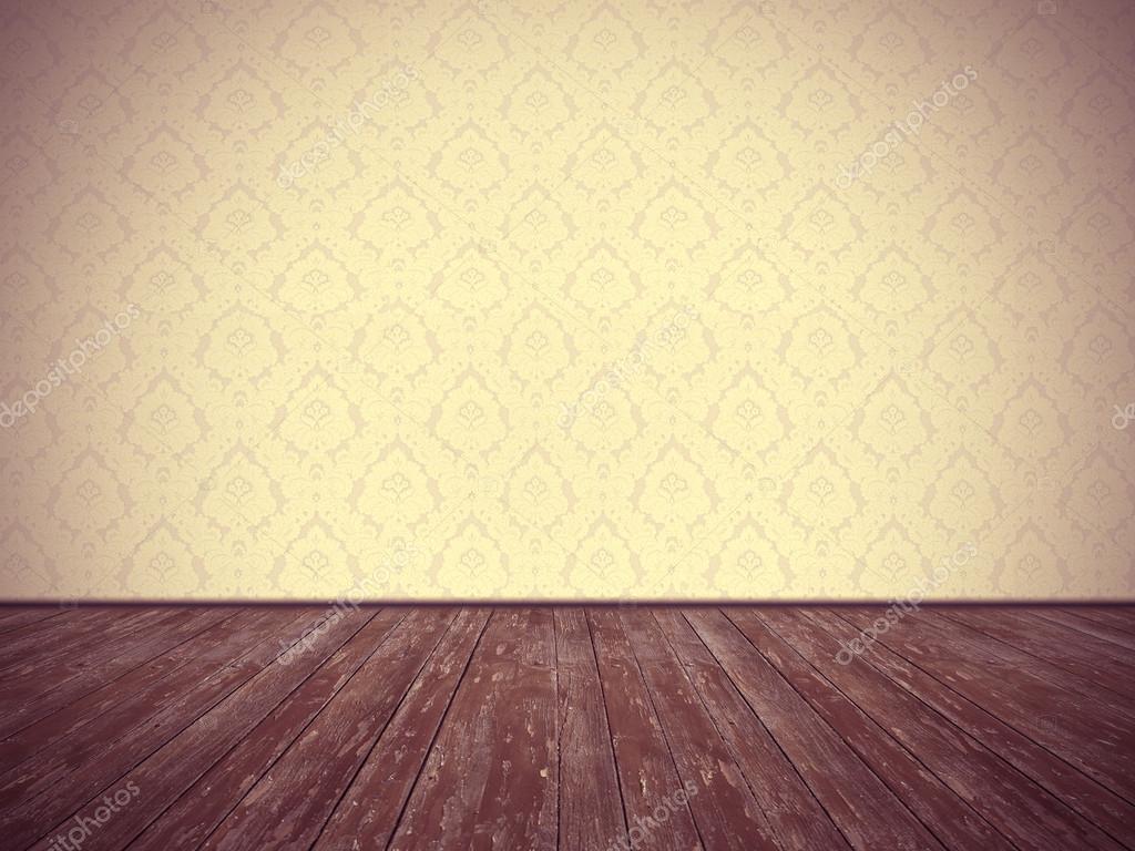 빈티지 룸 디자인: 꽃무늬 벽지와 풍 화 나무 바닥 — 스톡 사진 ...