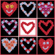 Variety of flowerhearts - collage  — Stock Photo
