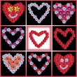 Variety of flowerhearts - collage - Stock Photo