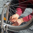 Closeup of man, doing bicycle repairs and maintenance — Stock Photo #26246815