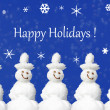 Happy Holidays Card with snowmen — Stock Photo