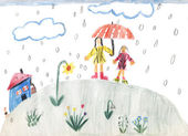 A rainy day - children painting — Stock Photo