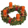 Advent wreath with cinnamon candles, golden cones and ribbon — Stock Photo #27047855