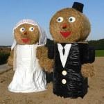 Funny bridal couple outdoors — Stock Photo