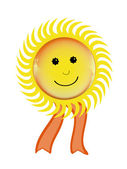 Smiling sun symbol with ribbon — Stock Photo