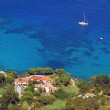 Beautiful bay sant andrea, elba island - view from above — Stock Photo