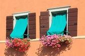 Zwei fenster mit blumentöpfe, mediterranen stil — Stockfoto