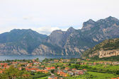 View from above to riva del garda and garda lake, italy — Stock Photo