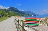 Toscolano beach, garda lake, italian tourist resort — Stock Photo