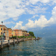 Panoramic gargnano waterfront and garda lake, italy — Stock Photo