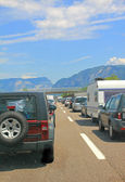 Traffic jam at the main travel time in a southward direction, europe — Stock Photo